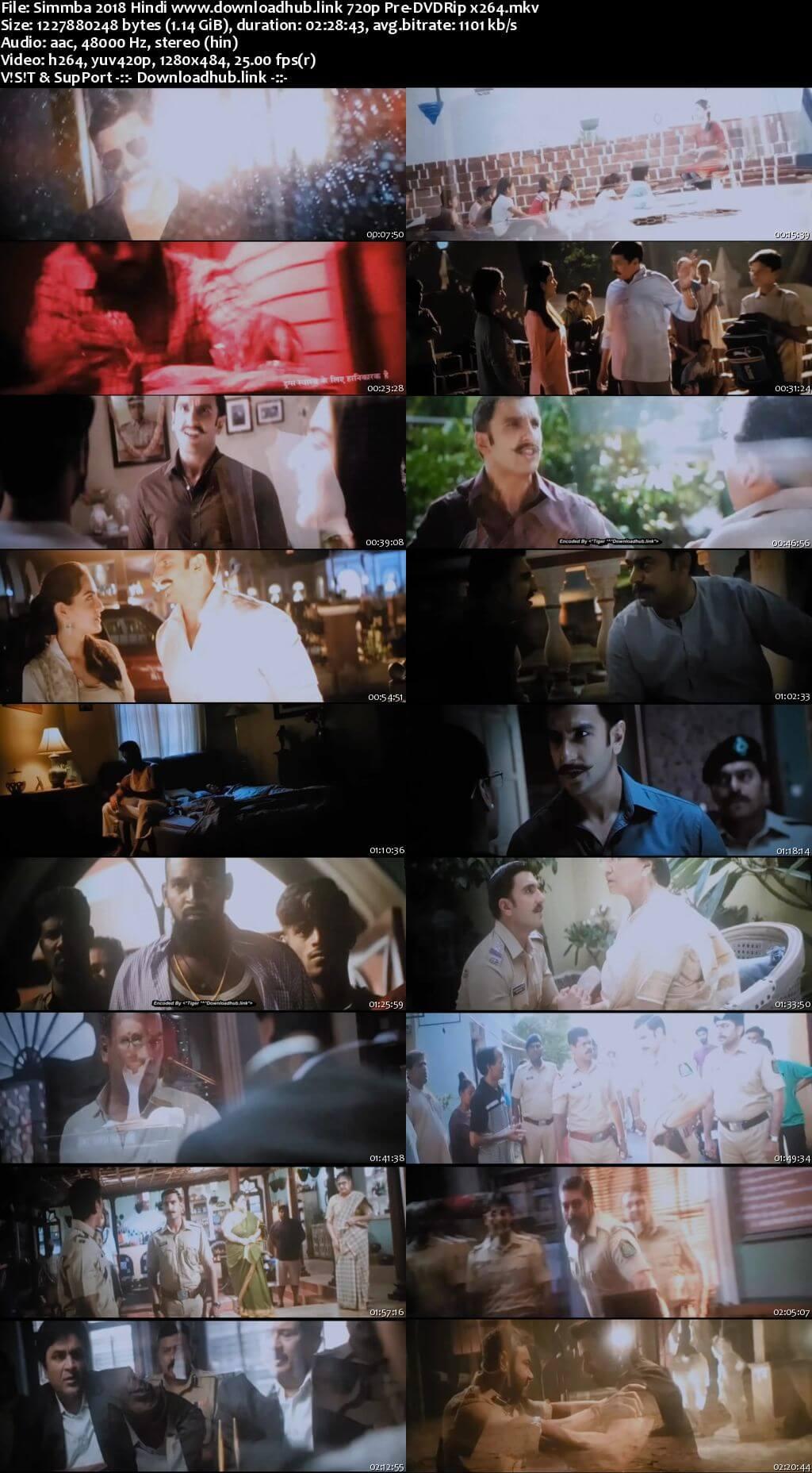 Simmba 2018 Hindi 720p Pre-DVDRip x264