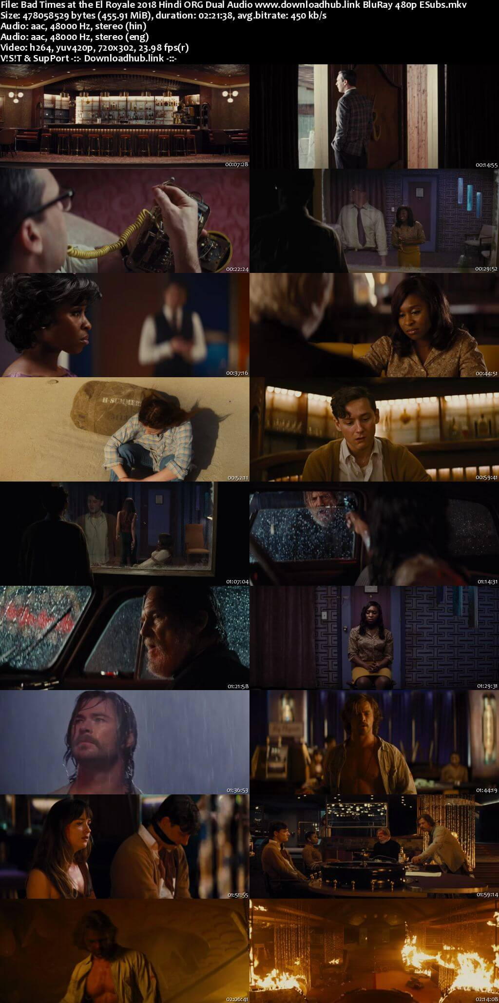 Bad Times at the El Royale 2018 Hindi ORG Dual Audio 450MB BluRay 480p ESubs