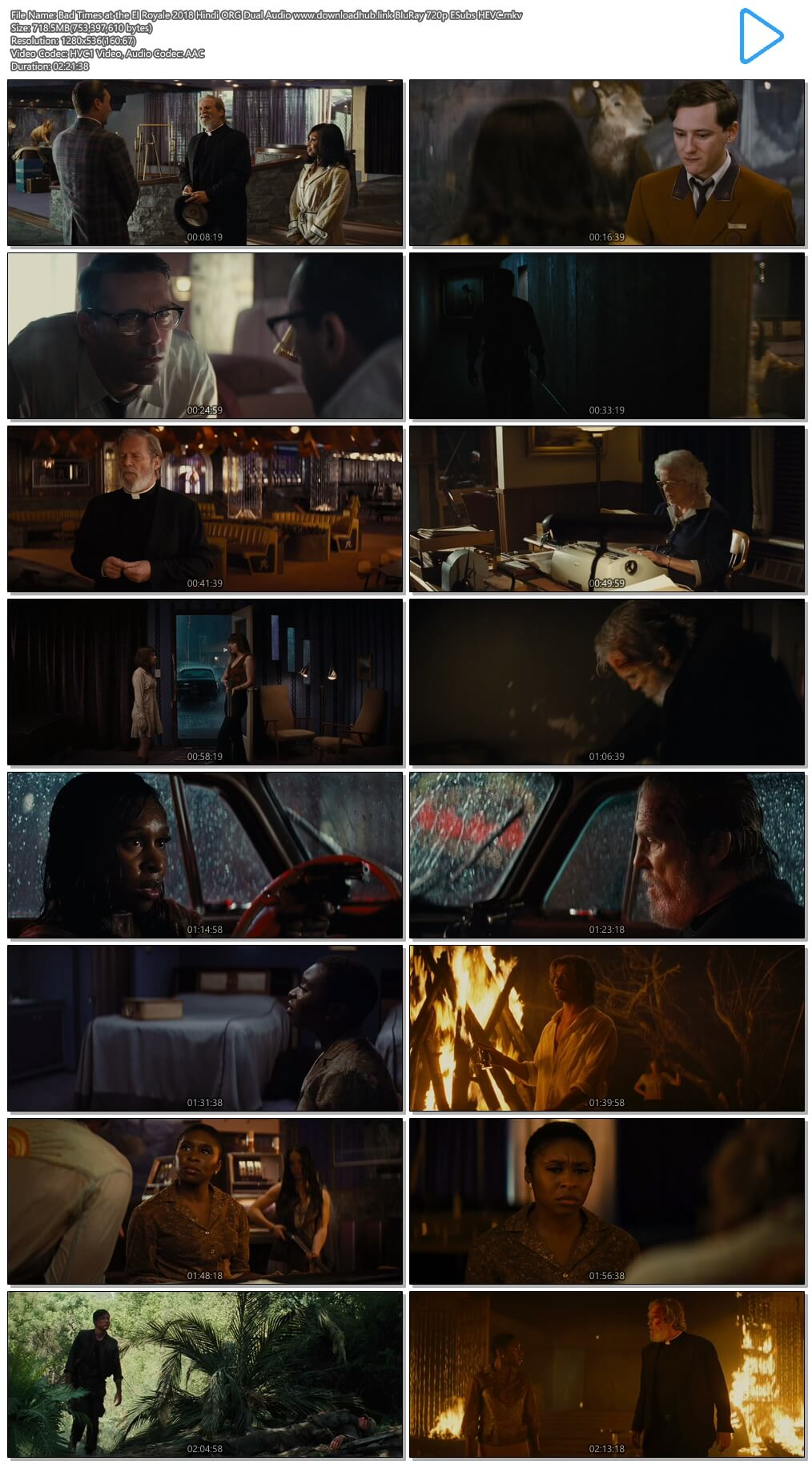 Bad Times at the El Royale 2018 Hindi ORG Dual Audio 700MB BluRay 720p ESubs HEVC