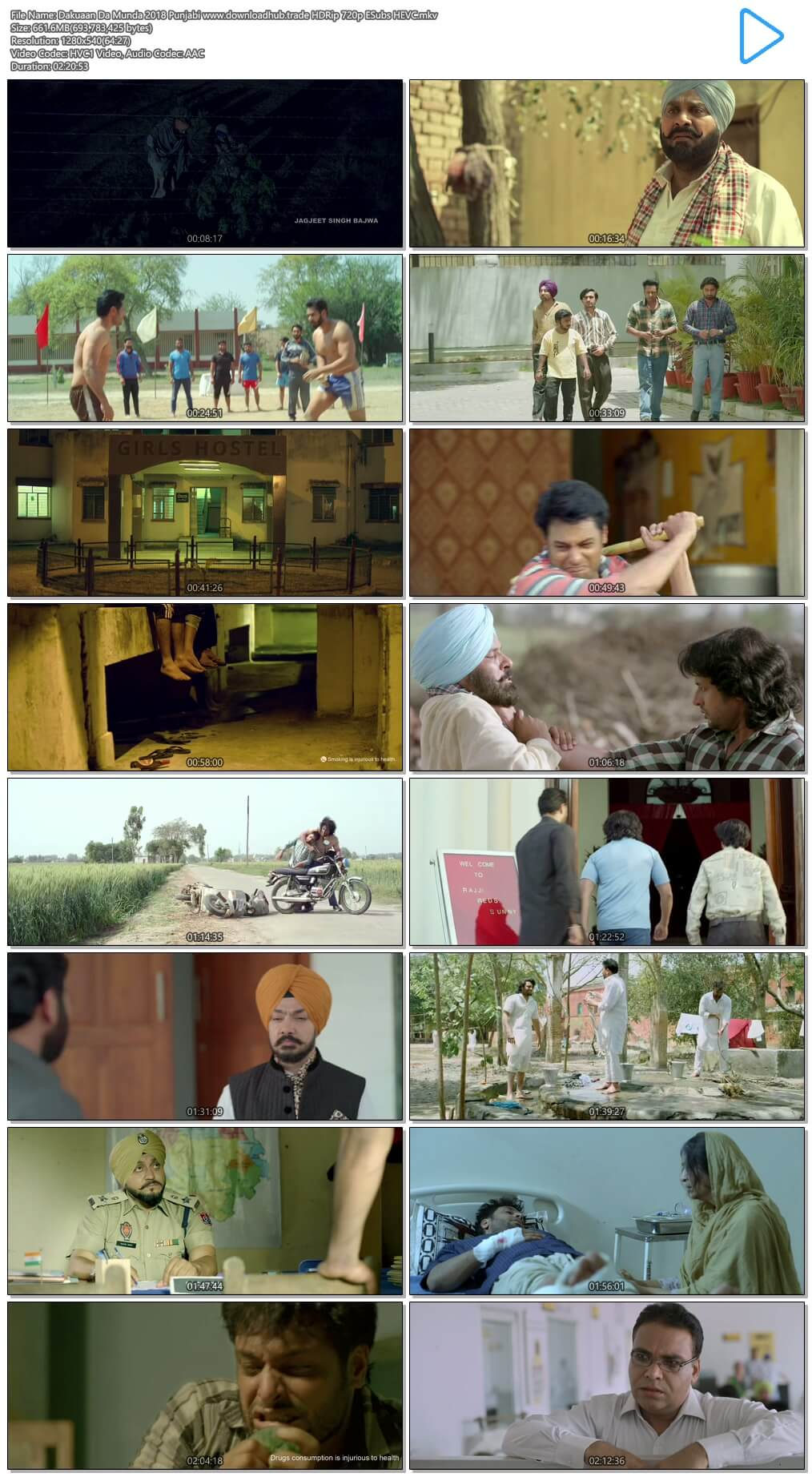 Dakuaan Da Munda 2018 Punjabi 650MB HDRip 720p ESubs HEVC
