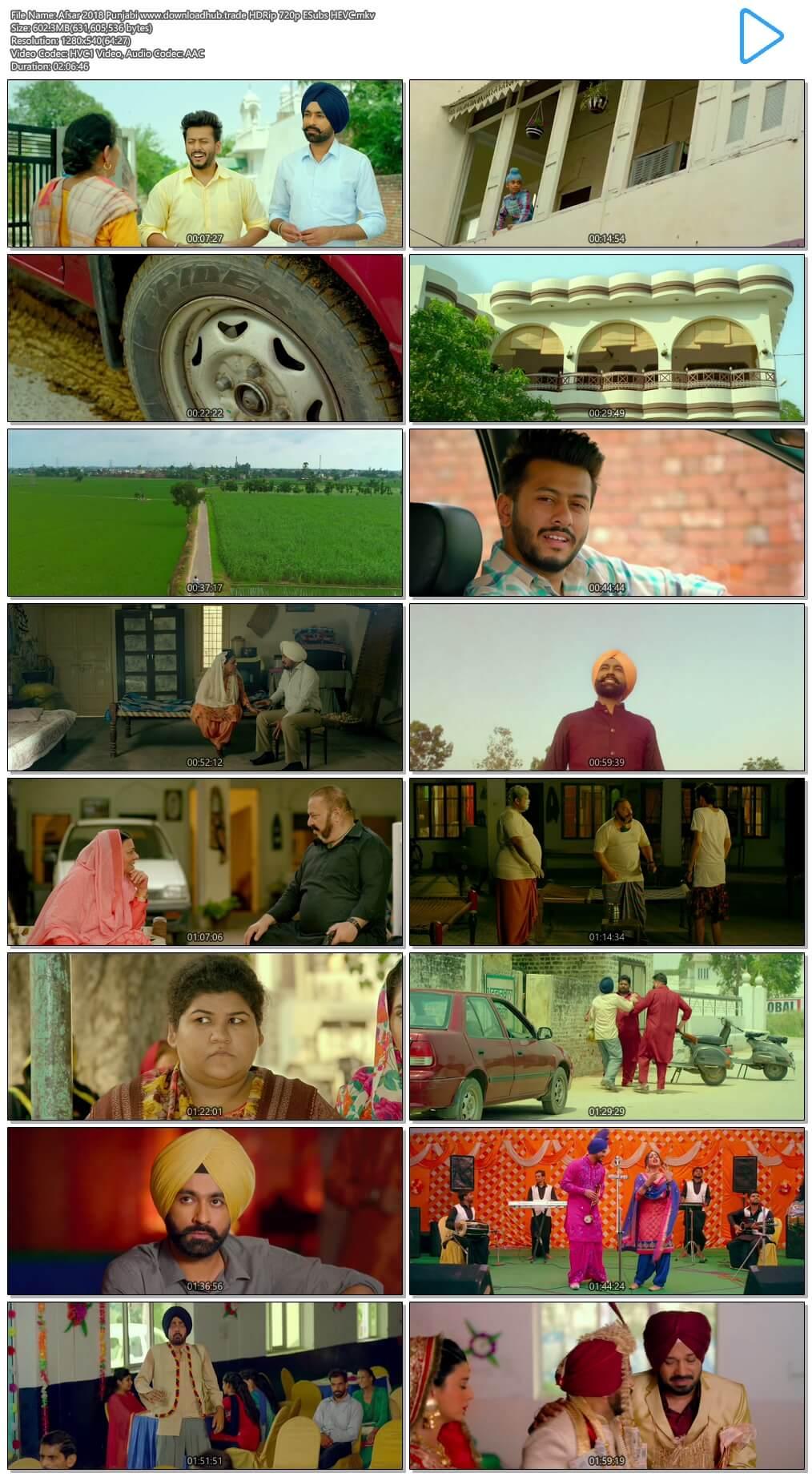 Afsar 2018 Punjabi 600MB HDRip 720p ESubs HEVC