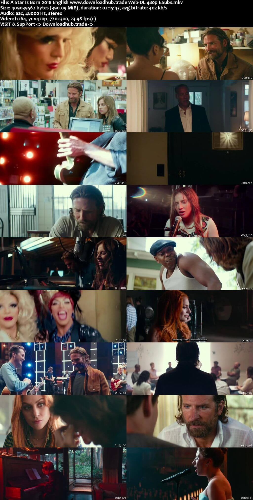 A Star Is Born 2018 English 350MB Web-DL 480p ESubs