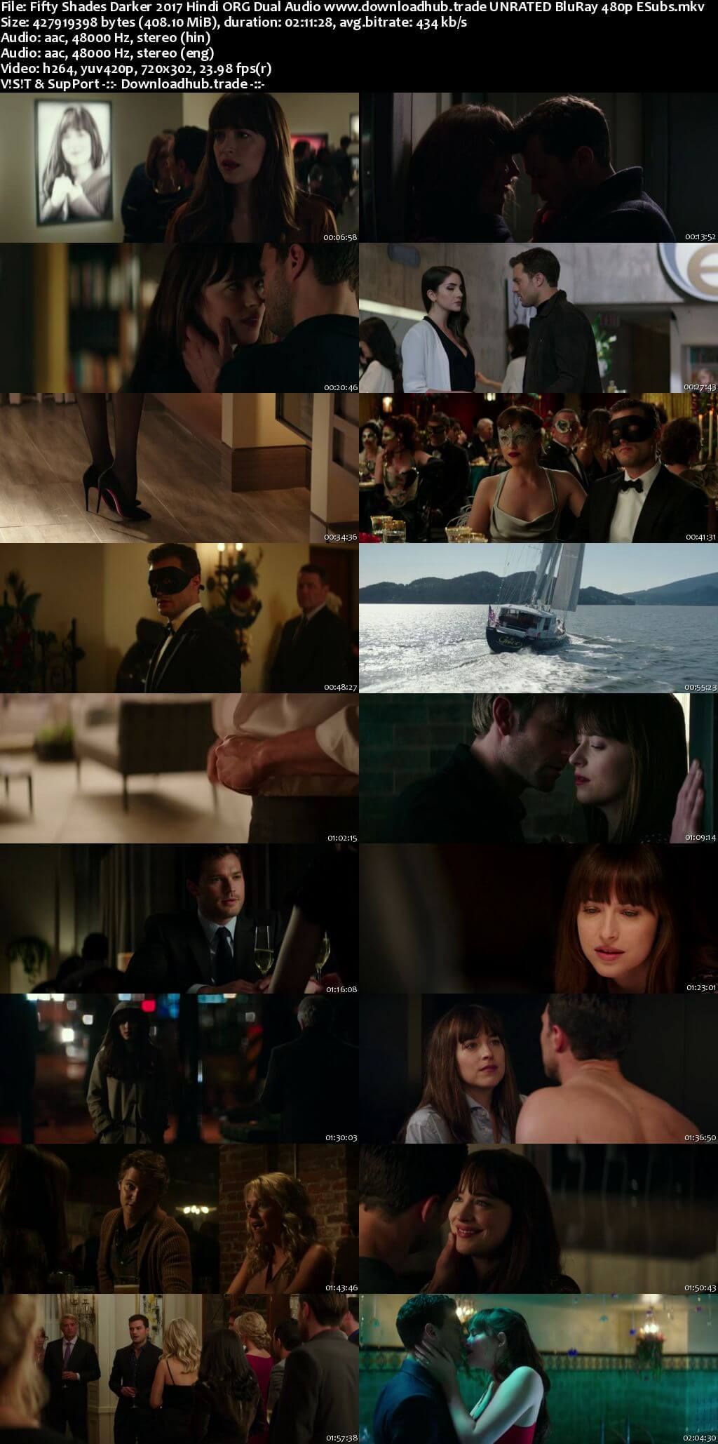Fifty Shades Darker 2017 Hindi ORG Dual Audio 400MB UNRATED BluRay 480p ESubs