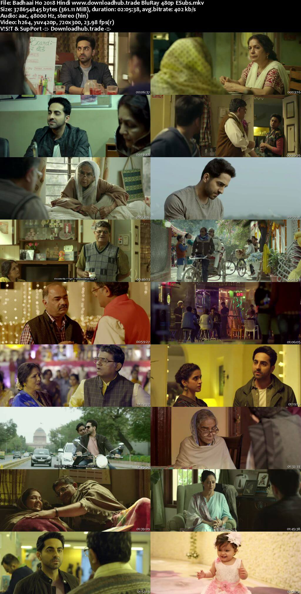 Badhaai Ho 2018 Hindi 350MB BluRay 480p ESubs