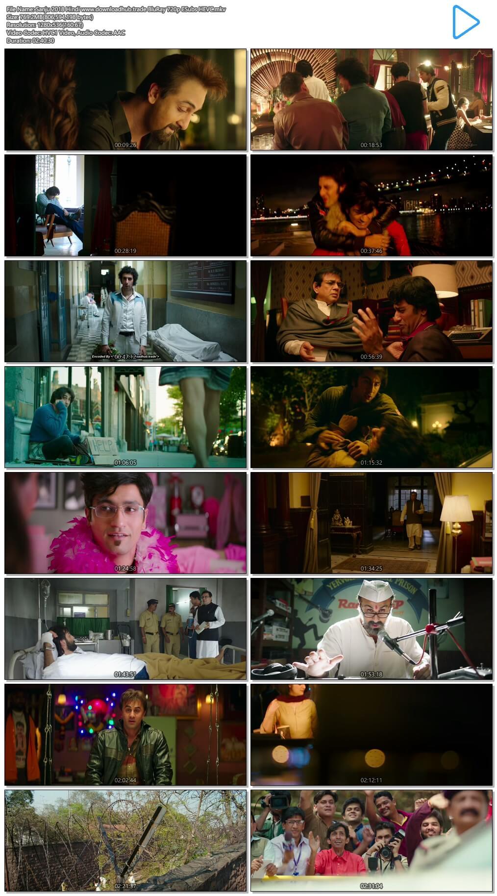 Sanju 2018 Hindi 750MB BluRay 720p ESubs HEVC