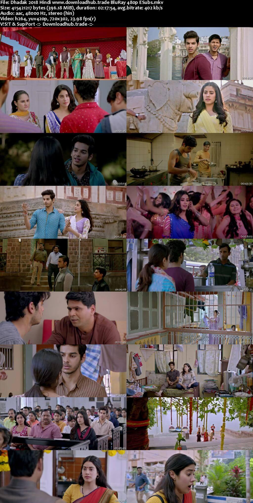 Dhadak 2018 Hindi 400MB BluRay 480p ESubs