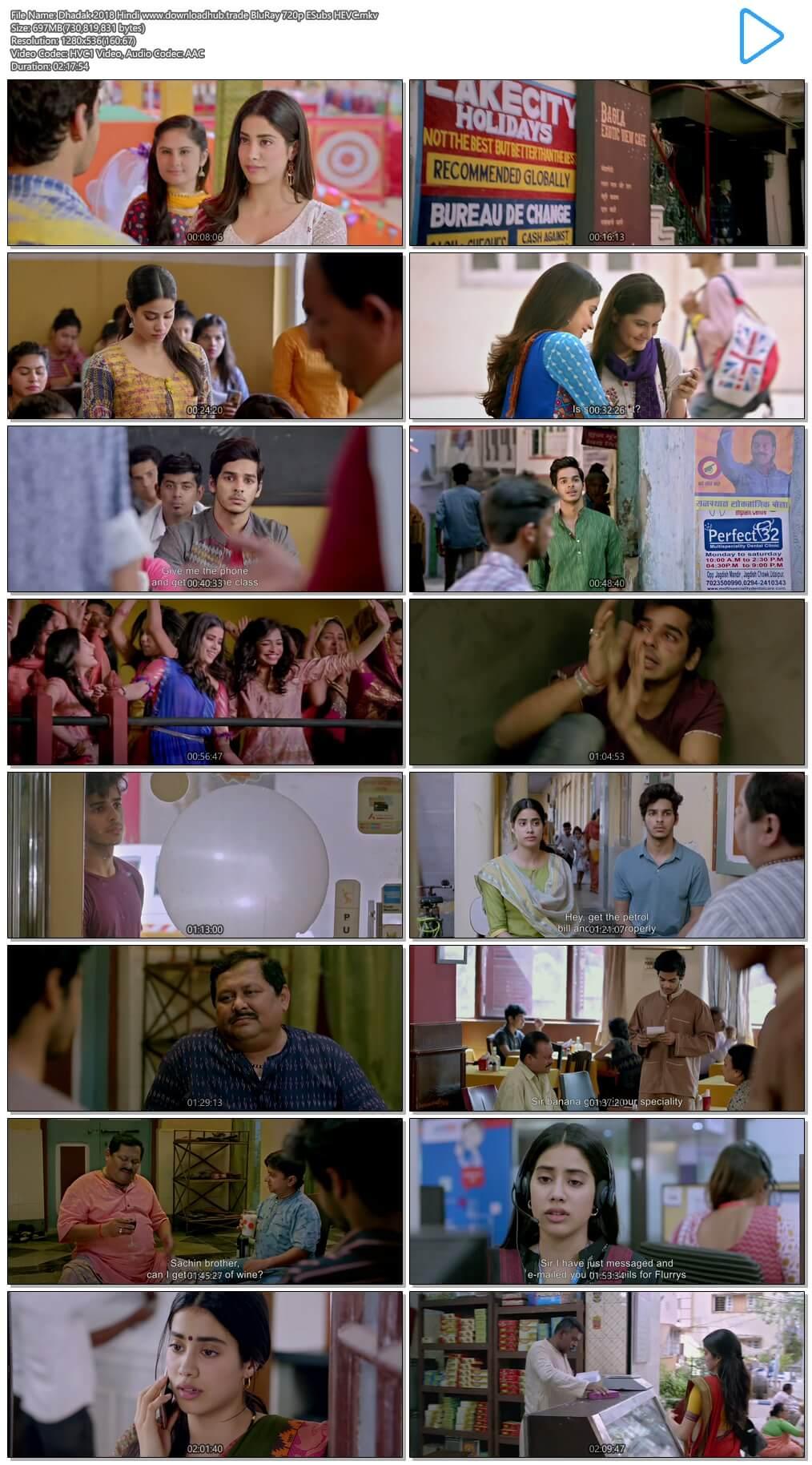 Dhadak 2018 Hindi 700MB BluRay 720p ESubs HEVC