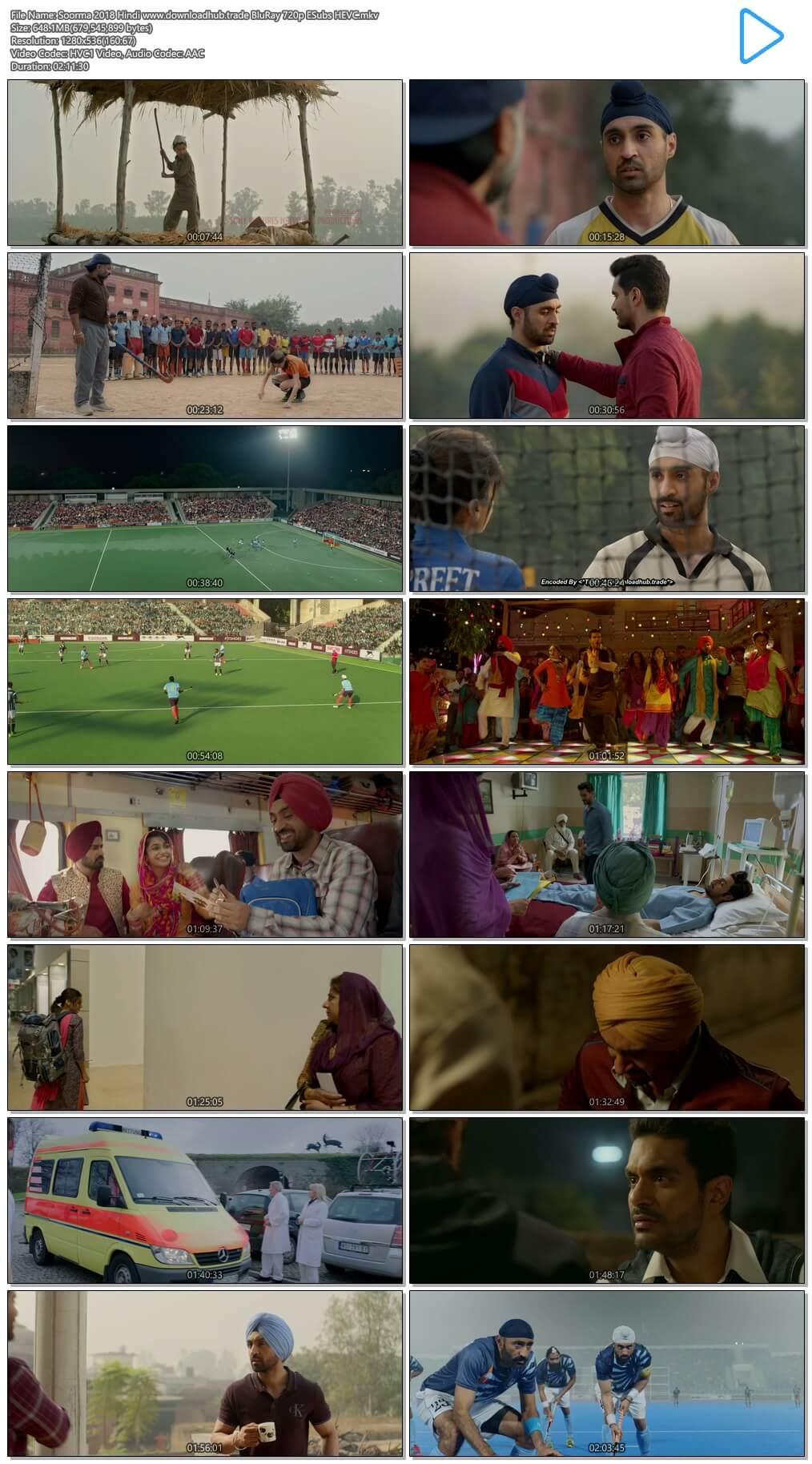 Soorma 2018 Hindi 650MB BluRay 720p ESubs HEVC