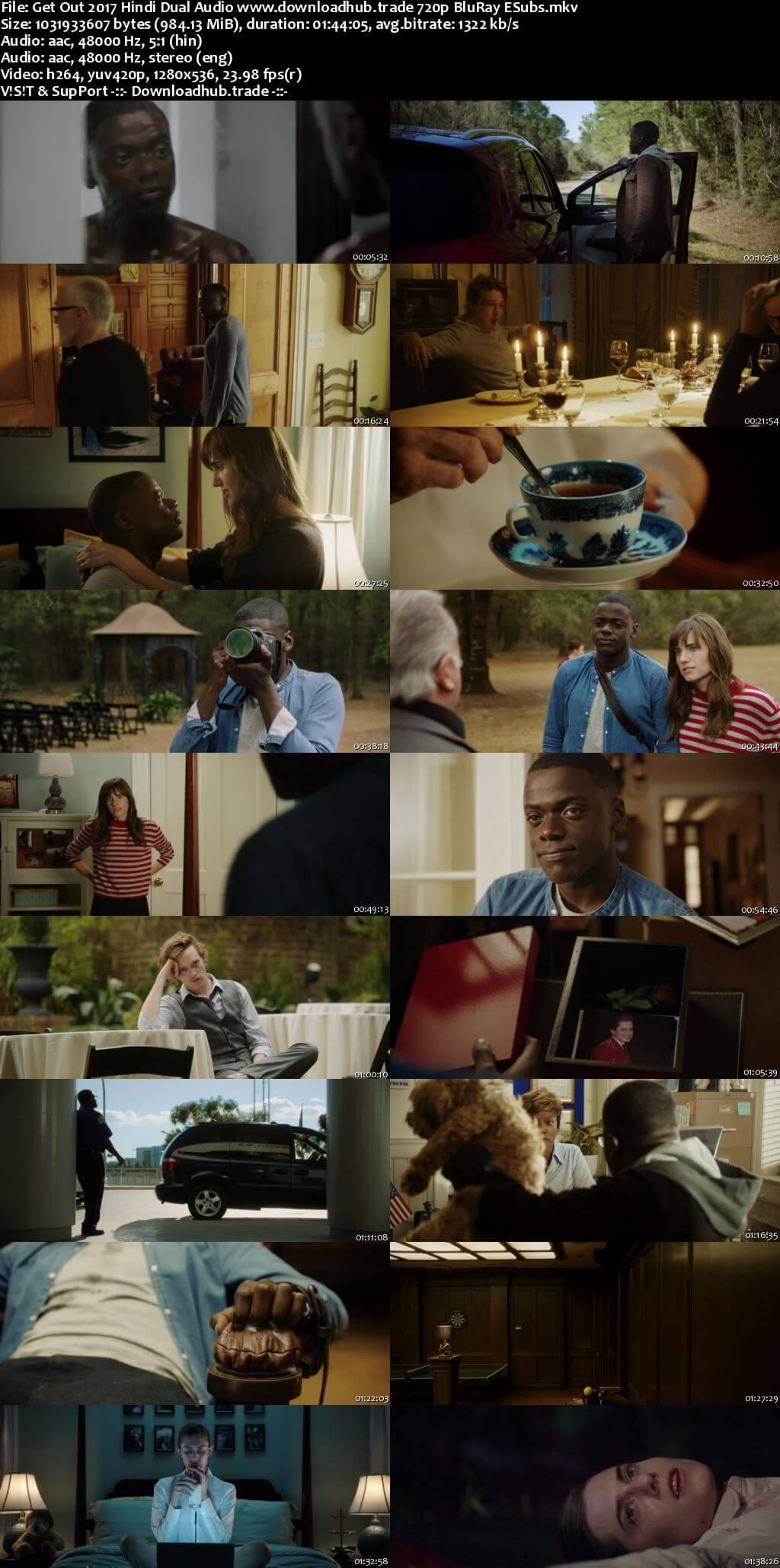 Get Out 2017 Hindi Dual Audio 720p BluRay ESubs