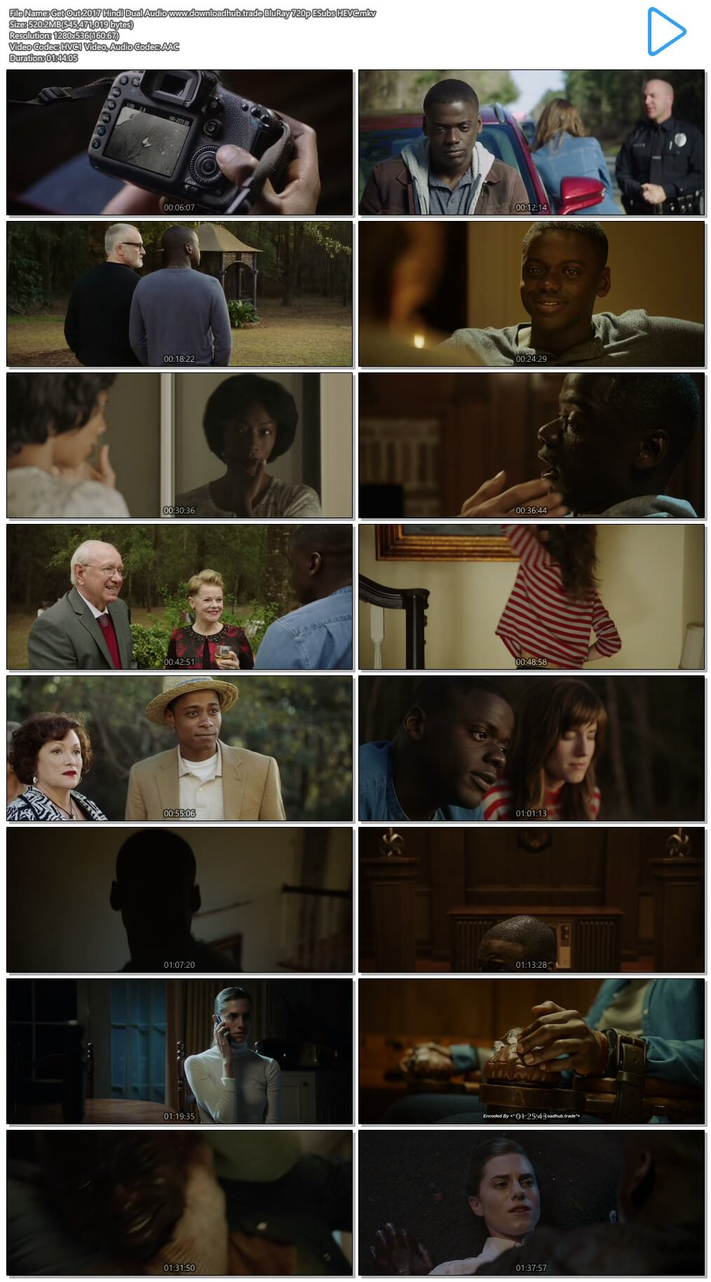 Get Out 2017 Hindi Dual Audio 500MB BluRay 720p ESubs HEVC