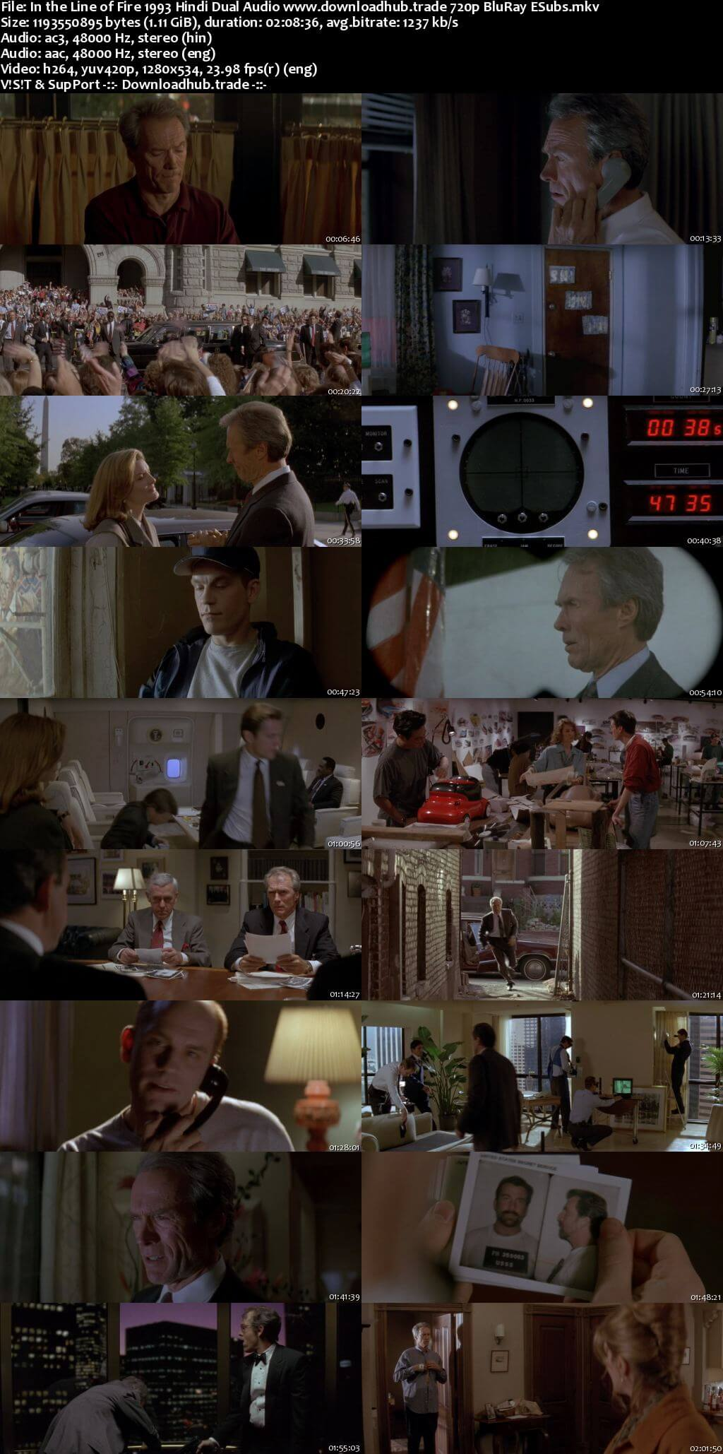In the Line of Fire 1993 Hindi Dual Audio 720p BluRay ESubs