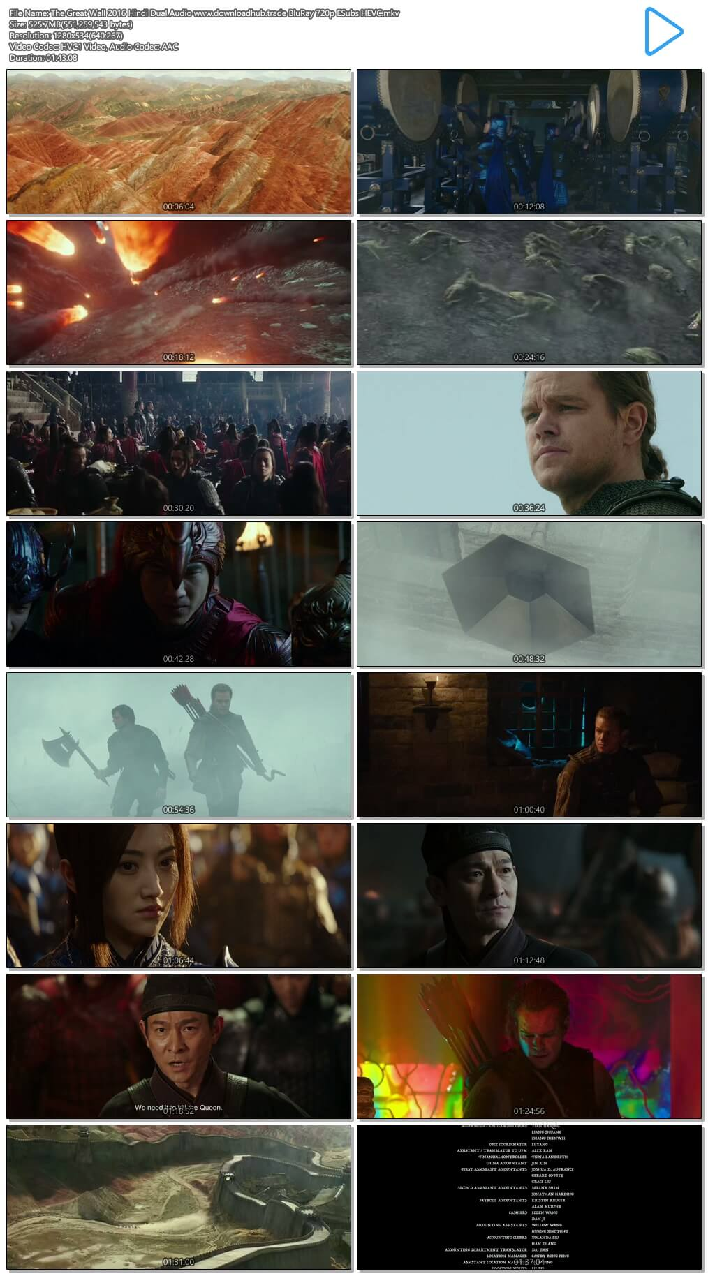 The Great Wall 2016 Hindi Dual Audio 500MB BluRay 720p ESubs HEVC