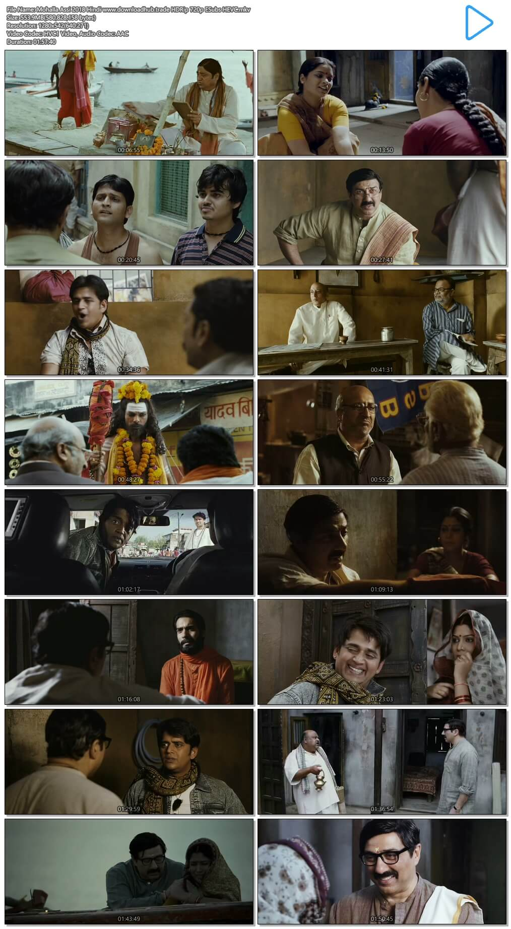 Mohalla Assi 2018 Hindi 550MB HDRip 720p ESubs HEVC