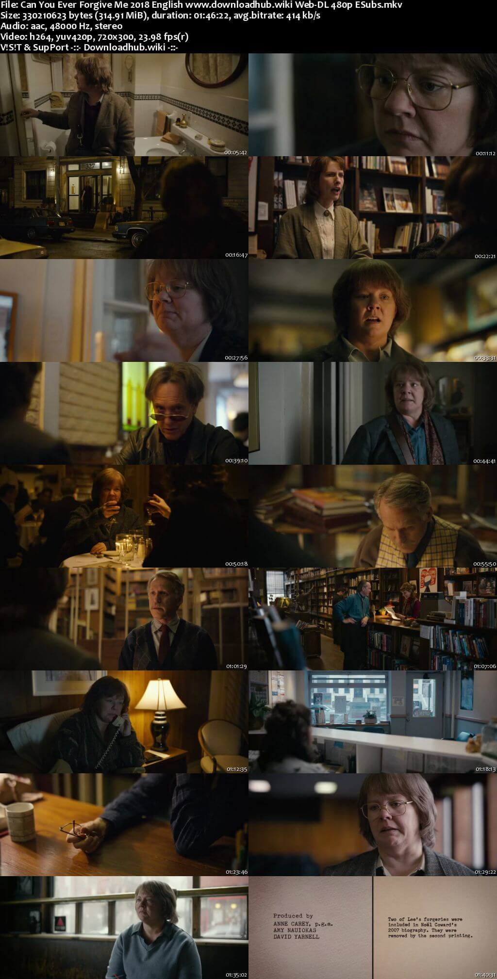 Can You Ever Forgive Me 2018 English 300MB Web-DL 480p ESubs