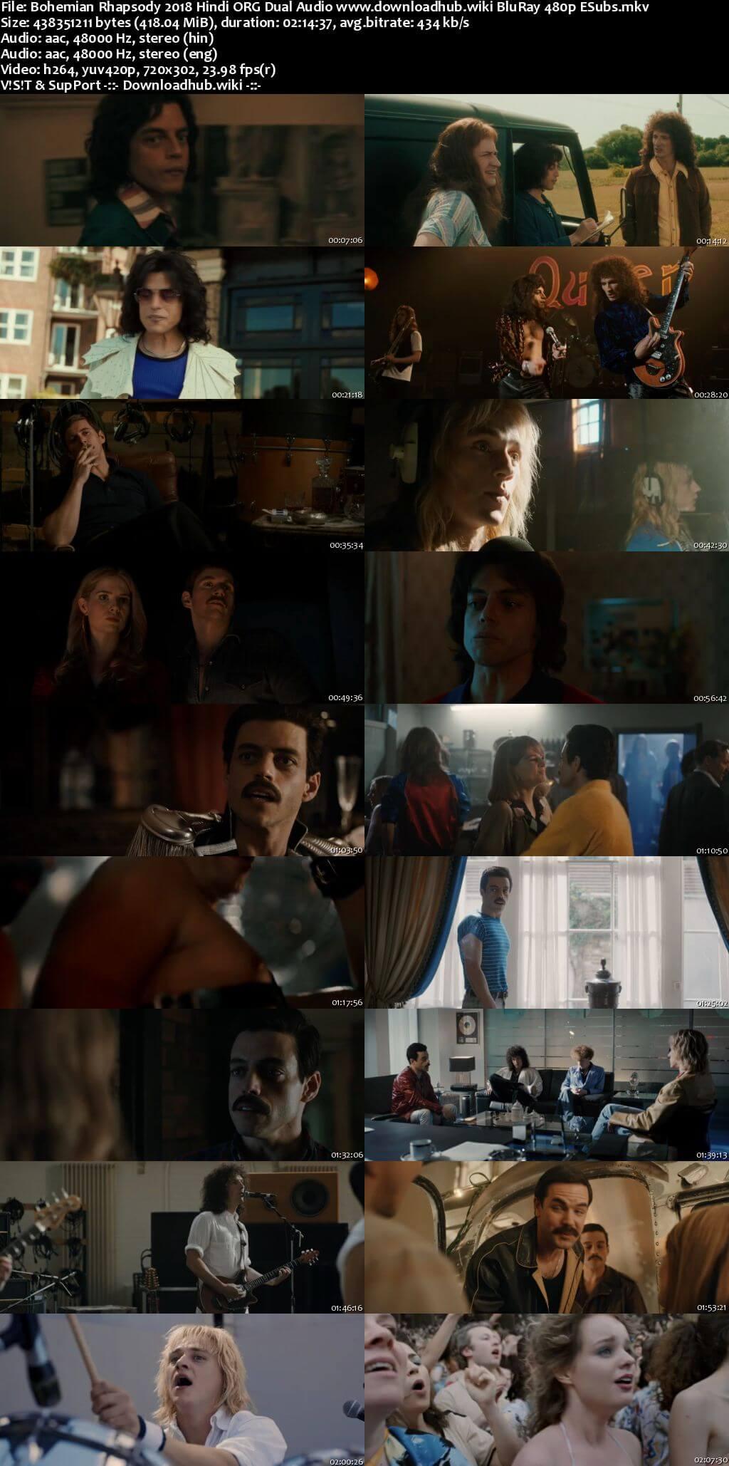 Bohemian Rhapsody 2018 Hindi ORG Dual Audio 400MB BluRay 480p ESubs