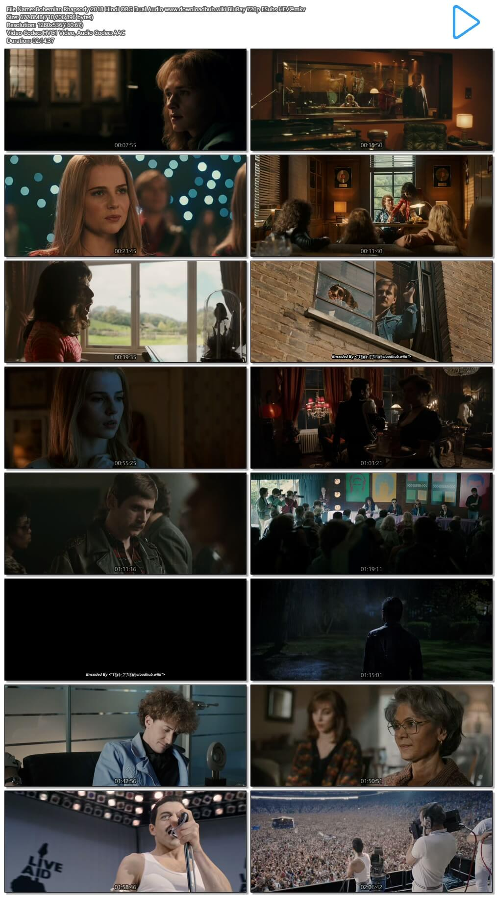 Bohemian Rhapsody 2018 Hindi ORG Dual Audio 650MB BluRay 720p ESubs HEVC