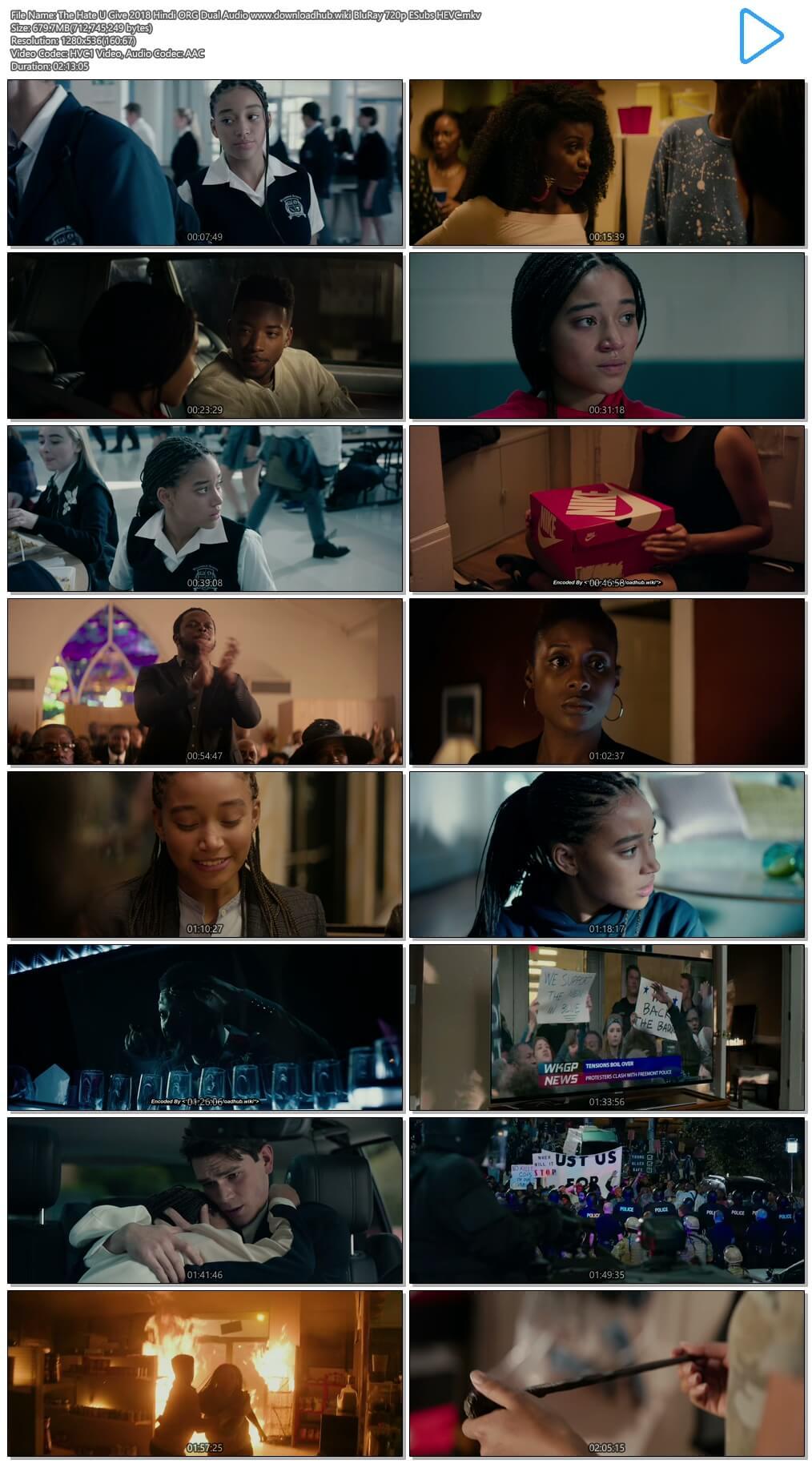 The Hate U Give 2018 Hindi ORG Dual Audio 650MB BluRay 720p ESubs HEVC