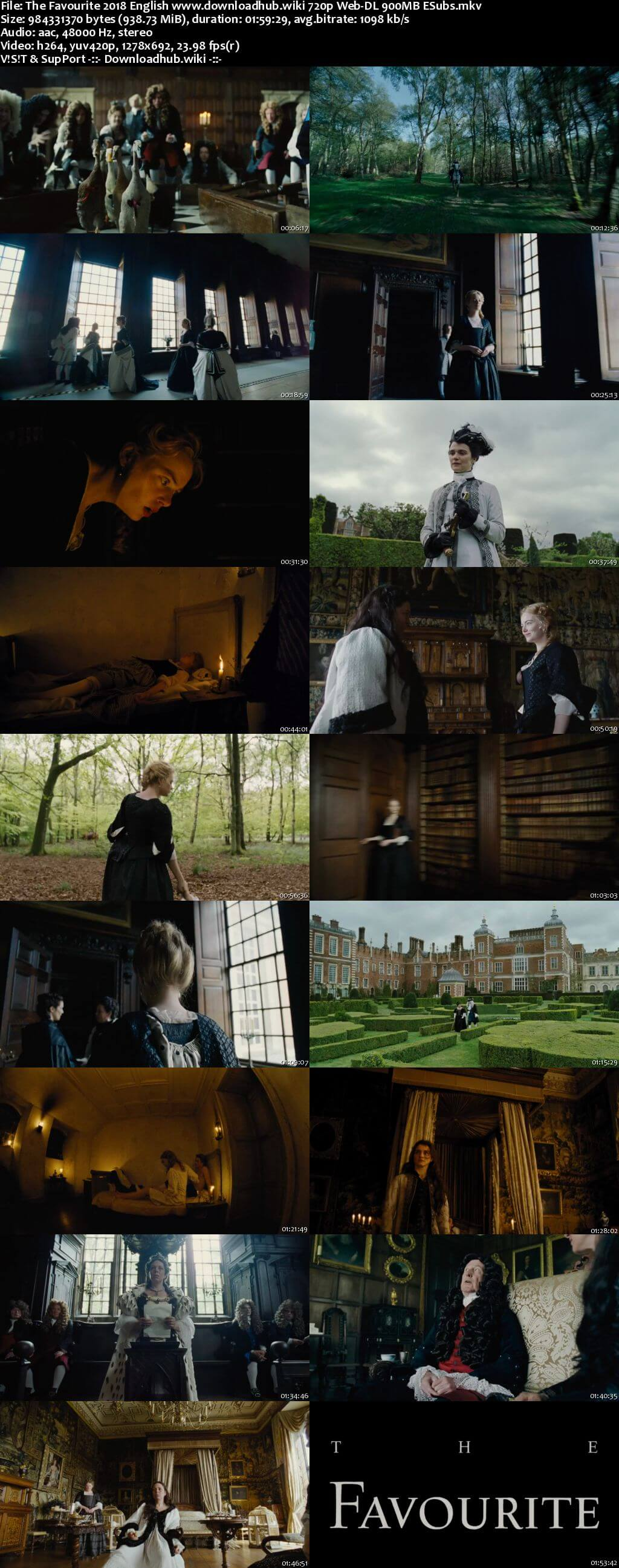 The Favourite 2018 English 720p Web-DL 900MB ESubs