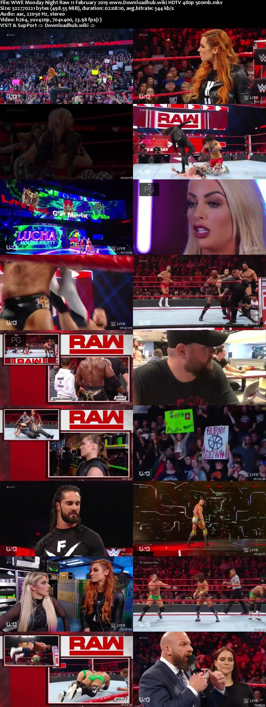 WWE Monday Night Raw 11th February 2019 500MB HDTVRip 480p