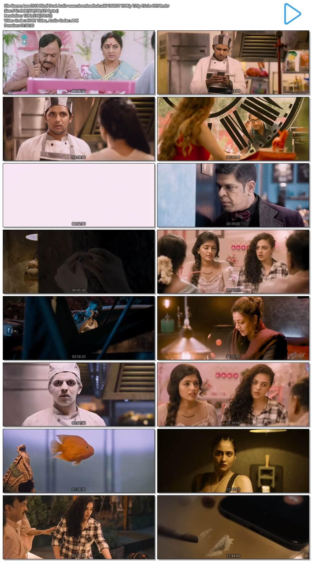 Awe 2018 Hindi Dual Audio 550MB UNCUT HDRip 720p ESubs HEVC