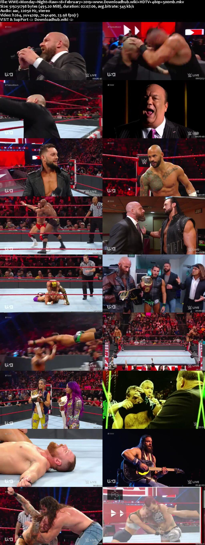 WWE Monday Night Raw 18th February 2019 500MB HDTVRip 480p