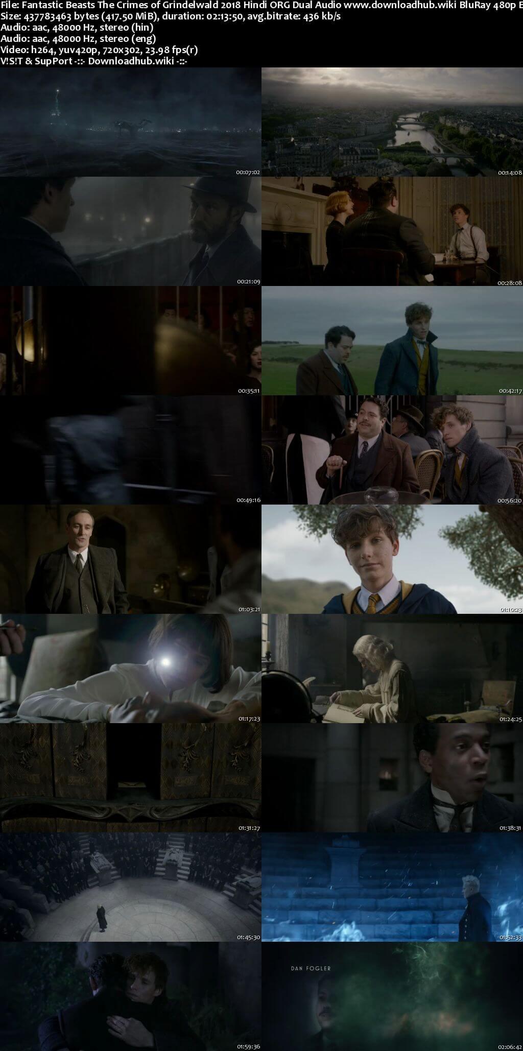 Fantastic Beasts The Crimes of Grindelwald 2018 Hindi ORG Dual Audio 400MB BluRay 480p ESubs