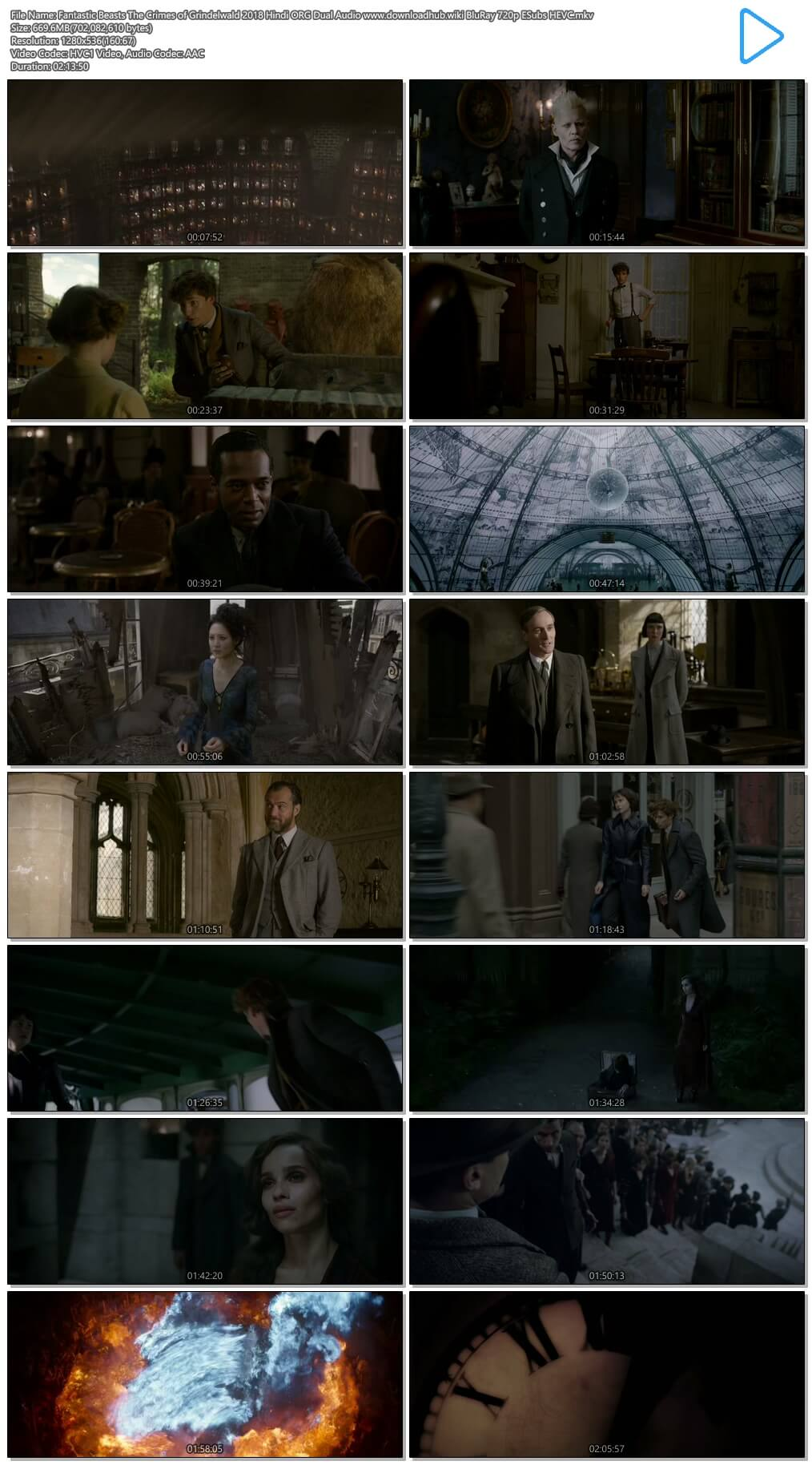 Fantastic Beasts The Crimes of Grindelwald 2018 Hindi ORG Dual Audio 650MB BluRay 720p ESubs HEVC