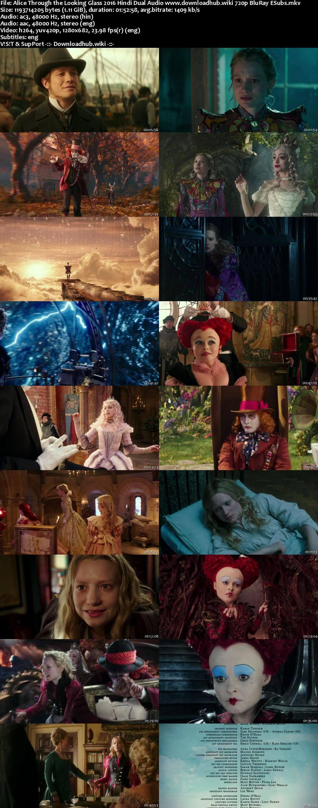 Alice Through the Looking Glass 2016 Hindi Dual Audio 720p BluRay ESubs