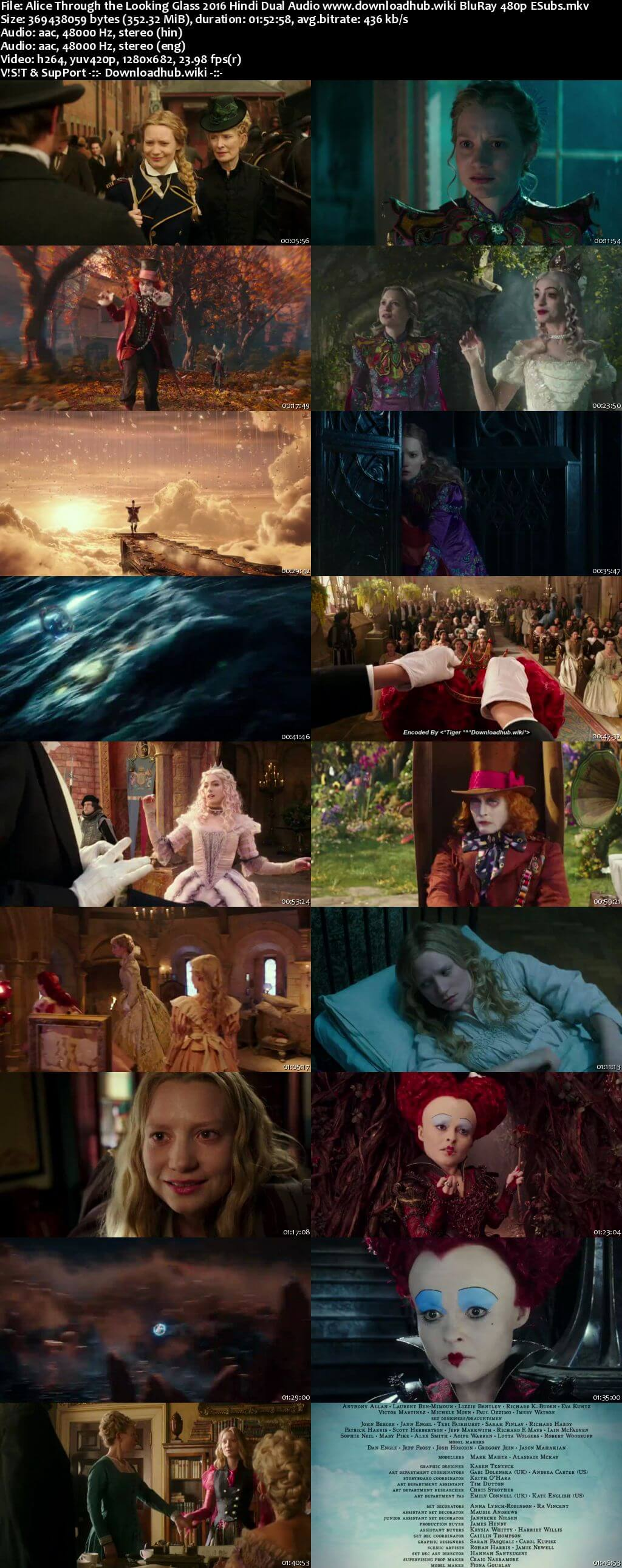 Alice Through the Looking Glass 2016 Hindi Dual Audio 350MB BluRay 480p ESubs