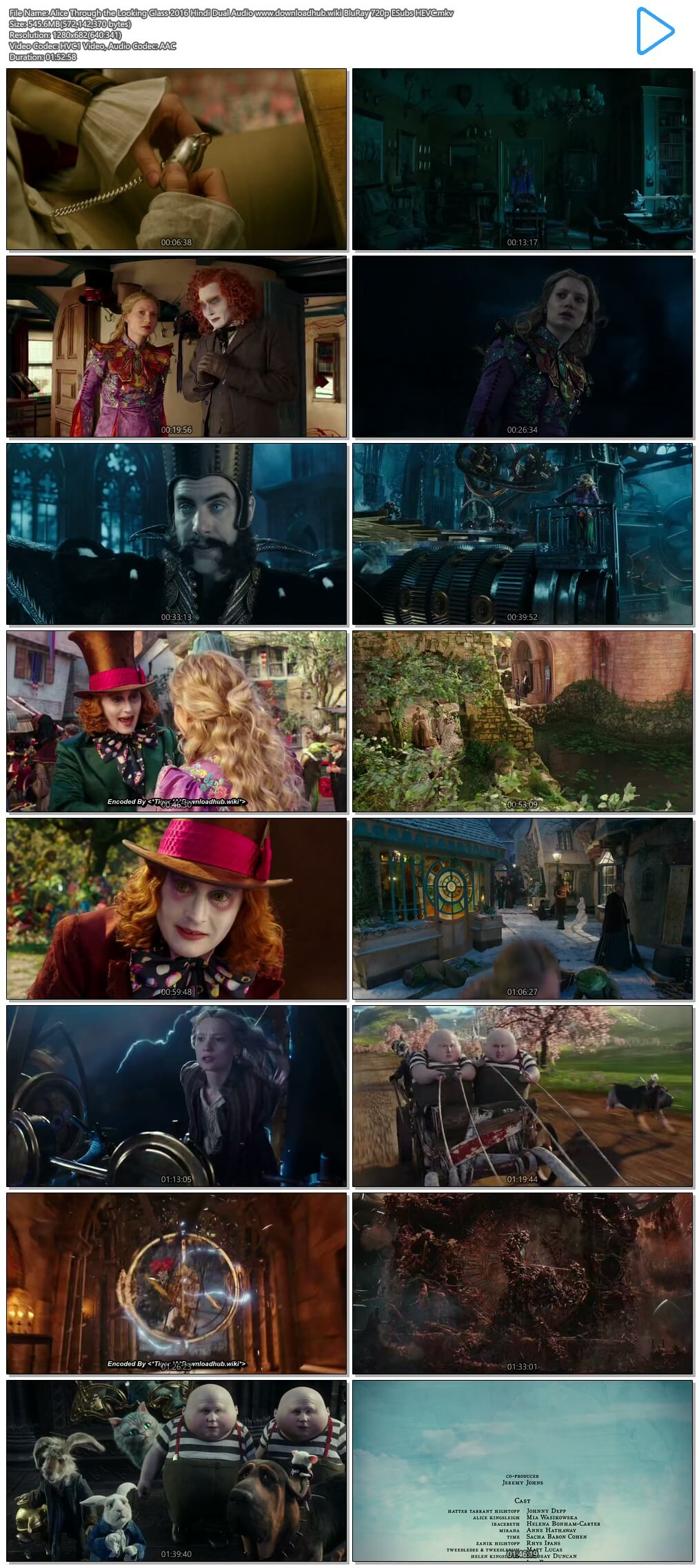Alice Through the Looking Glass 2016 Hindi Dual Audio 550MB BluRay 720p ESubs HEVC