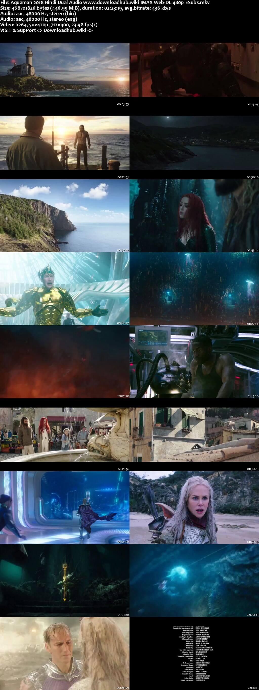 Aquaman 2018 Hindi Dual Audio 450MB IMAX Web-DL 480p ESubs