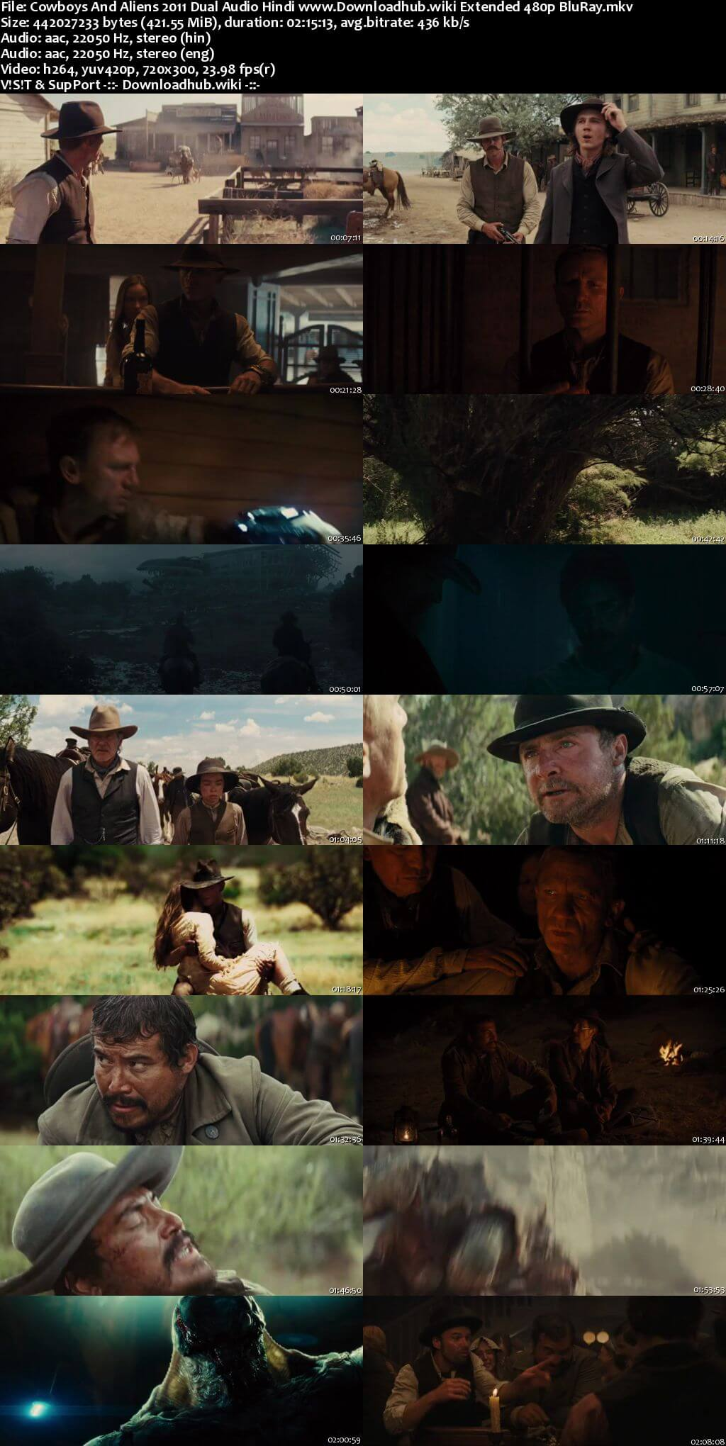 Cowboys And Aliens 2011 Hindi Dual Audio 400MB EXTENDED BluRay 480p ESubs