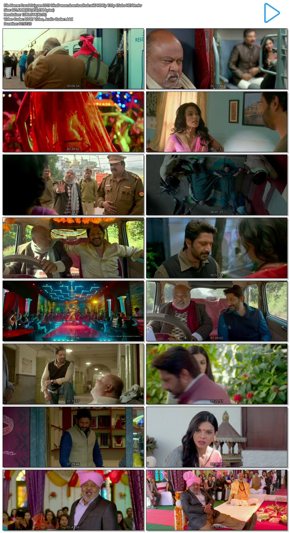 Fraud Saiyyan 2019 Hindi 600MB HDRip 720p ESubs HEVC