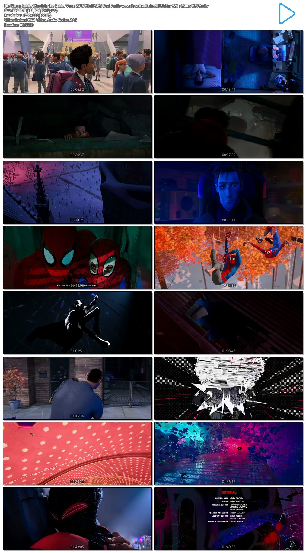 Spider Man Into the Spider Verse 2018 Hindi ORG Dual Audio 550MB BluRay 720p ESubs HEVC