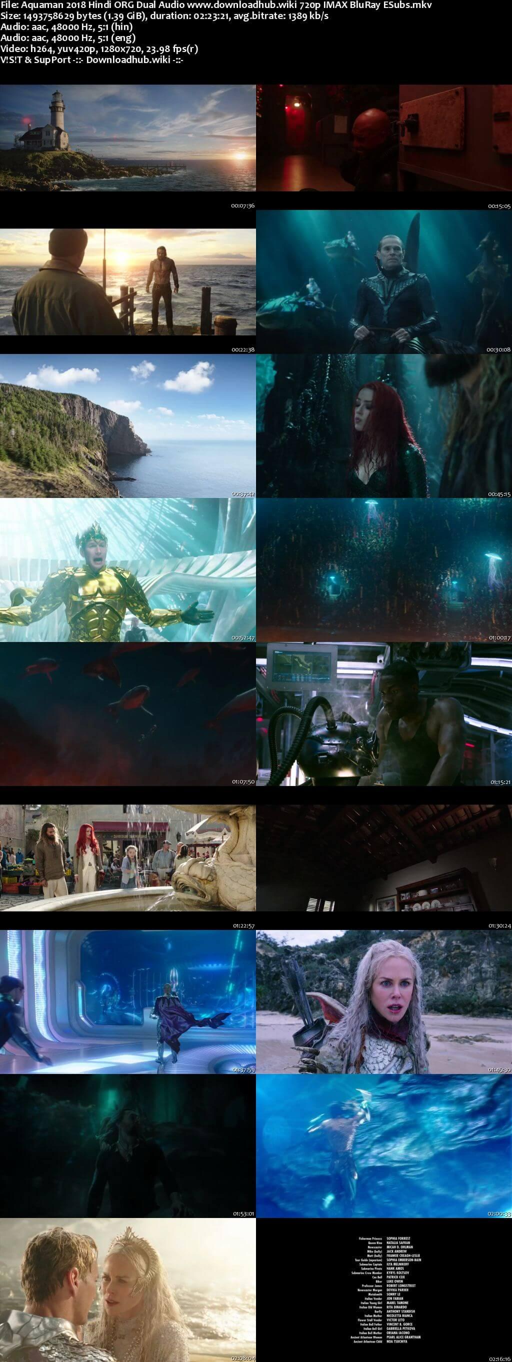 Aquaman 2018 Hindi ORG Dual Audio 720p IMAX BluRay ESubs