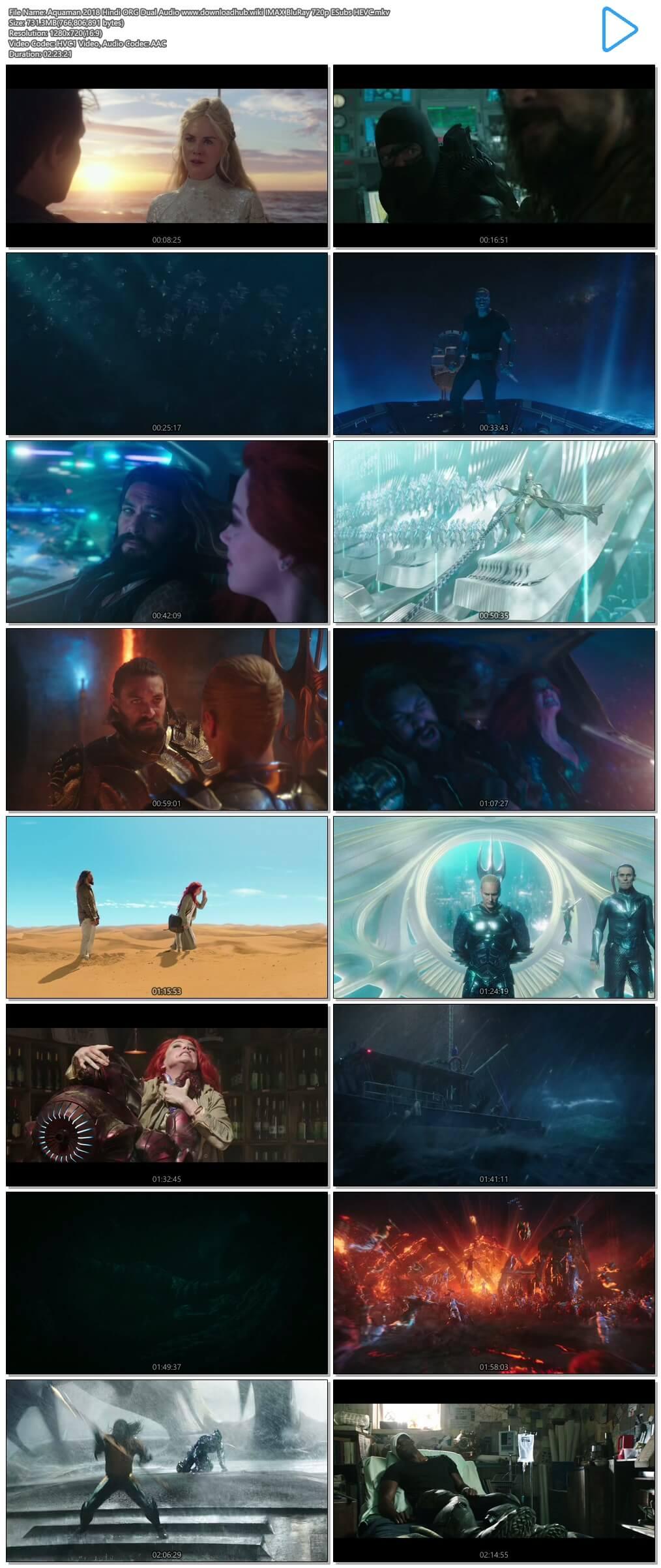 Aquaman 2018 Hindi ORG Dual Audio 700MB IMAX BluRay 720p ESubs HEVC